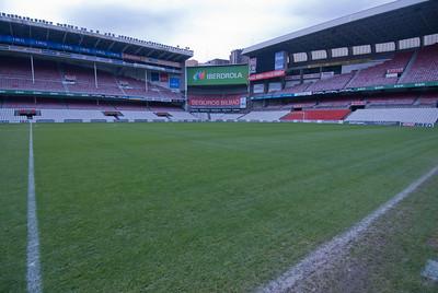 The empty field in San Mames Stadium, Bilbao, Spain