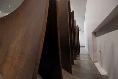 Modern art exhibit inside Guggenheim Museum in Bilbao, Spain