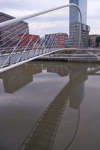 Zubizuri Bridge and Nervion River in Bilbao, Spain