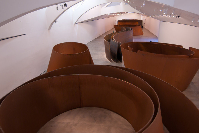 Art display inside Guggenheim Museum in Bilbao, Spain