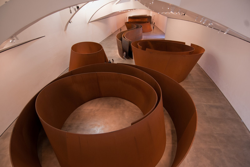 Art display inside Guggenheim Museum in Bilbao, Spain