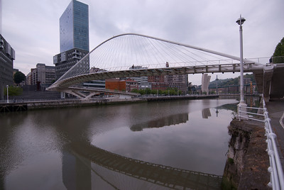 Zubizuri Bridge in Bilbao, Spain