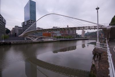Zubizuri Bridge in Bilbao, Spain