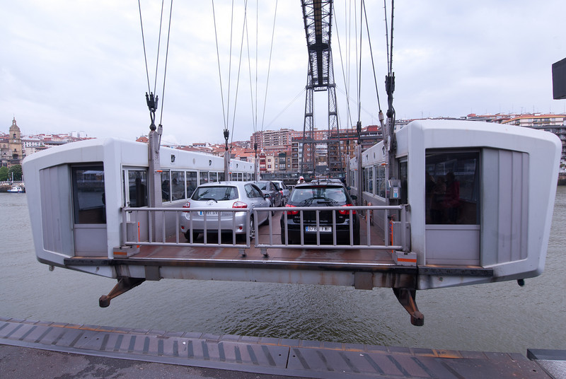 Vehicles and passengers transported at Puente Colgante in Bilbao, Spain