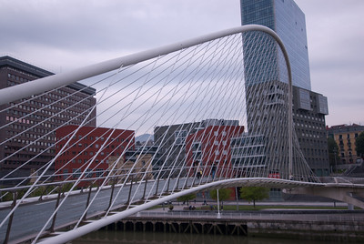 Details of the Zubizuri Bridge in Bilbao, Spain