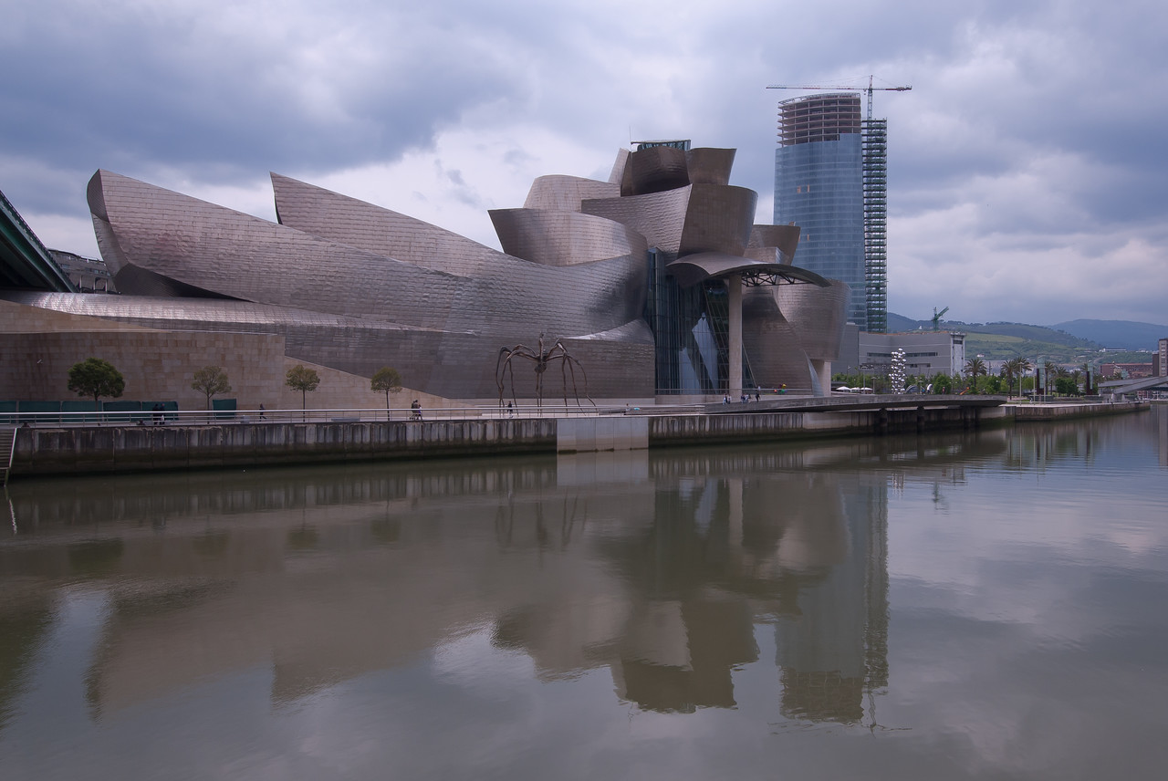 The Guggenheim Museum facade in Bilbao, Spain