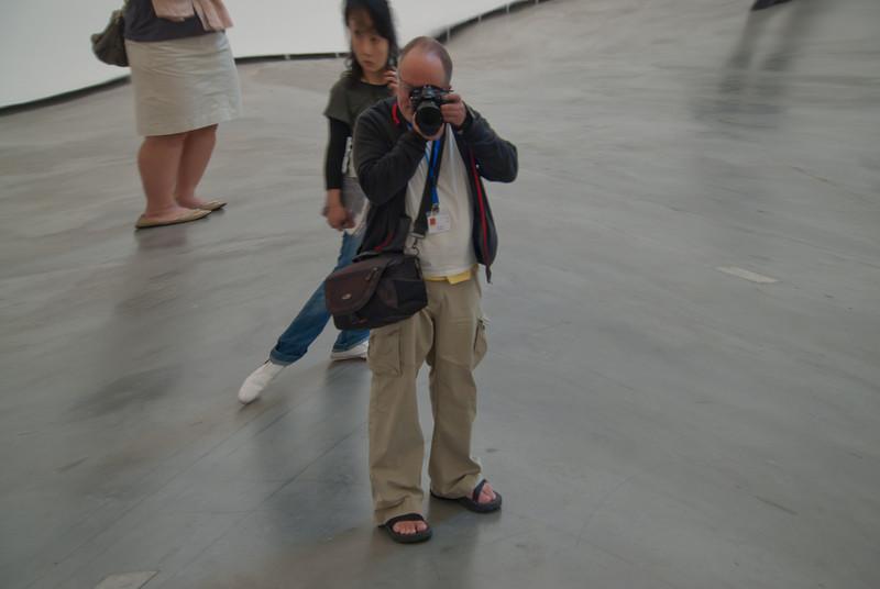 Taking photos inside Guggenheim Museum in Bilbao, Spain
