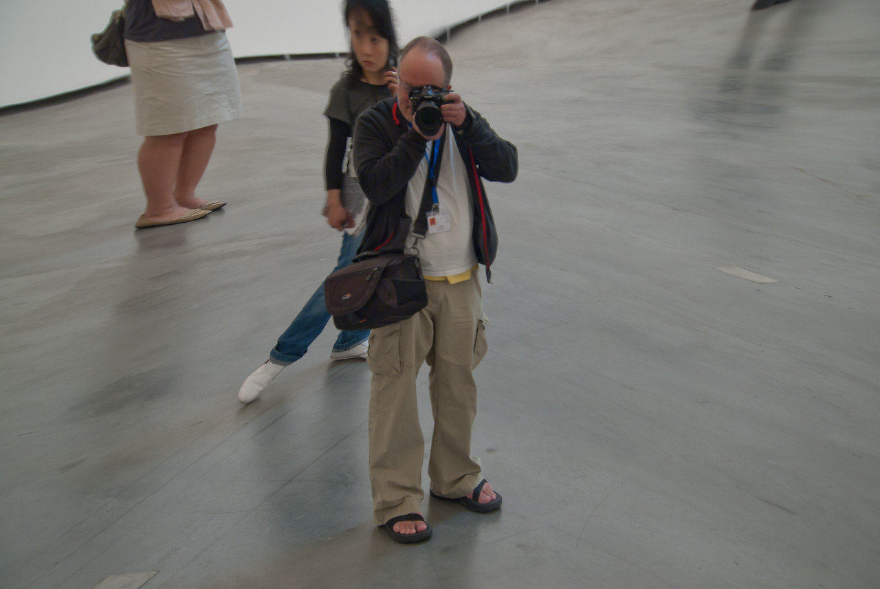 Taking photos inside Guggenheim Museum in Bilbao, Spain