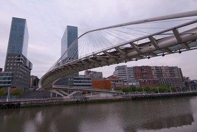 Zubizuri Bridge over Nervion River in Bilbao, Spain