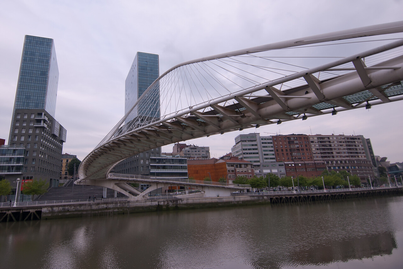 Zubizuri Bridge over Nervion River in Bilbao, Spain