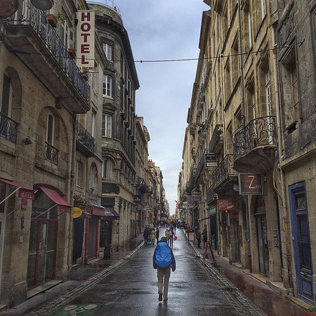 The Lonely Pilgrim. On the streets of old town Bordeaux after the break of the storm. Making our way down the southwest coast of France to Irun, Spain, the setting off point for the Norte Camino de Santiago. via Instagram http://ift.tt/1Sl9FMu