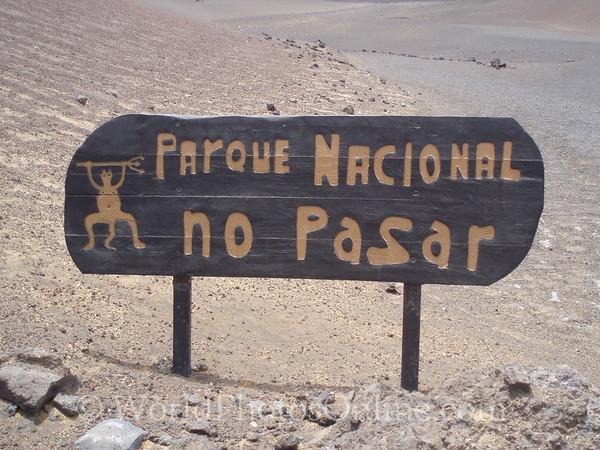 Lanzarote - Fire Mountain Park Sign