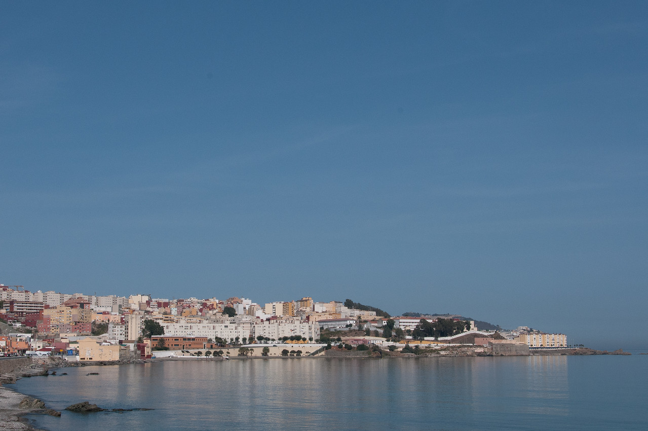 El Sarchal Beach and skyline in Ceuta, Spain
