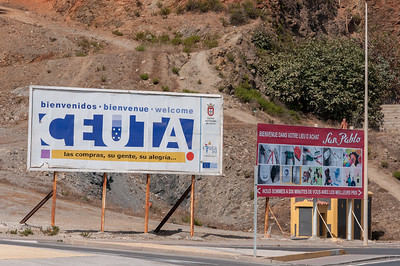 Tourist welcome sign in Ceuta, Spain