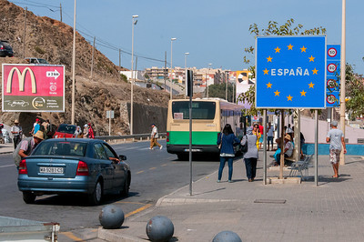 Street scene outside the ferry port in Ceuta, Spain