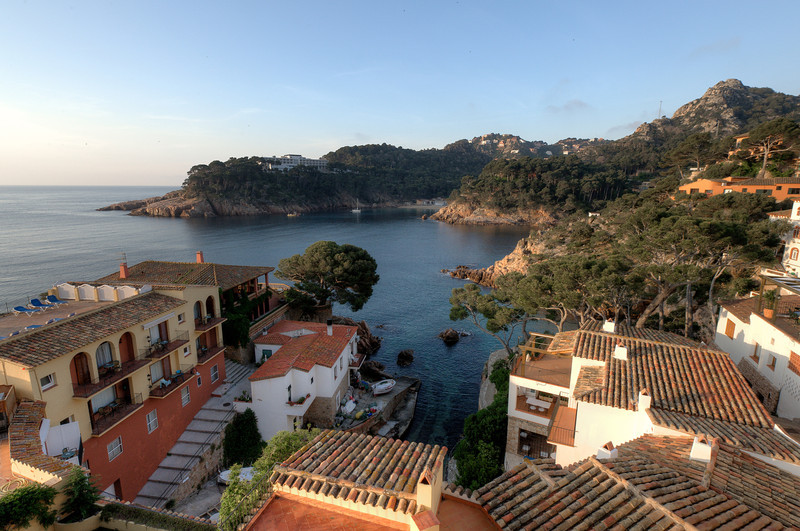 View of the ocean from the roof deck in Costa Brava, Spain