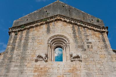 Details of fortress walls on Besalu Bridge in Costa Brava, Girona, Spain