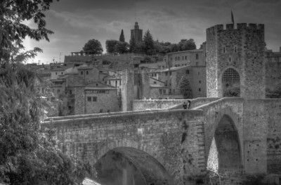 Besalu Bridge over Fluvian River in B&W - Costa Brava, Girona, Spain