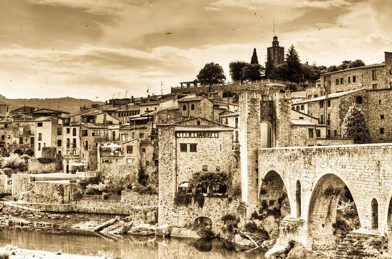 The Besalu village over Fluvian River in Costa Brava, Girona, Spain