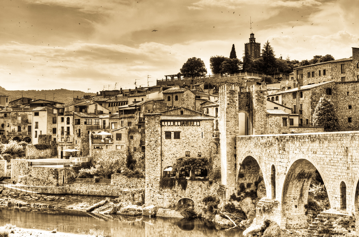 The Village of Besalu in Costa Brava Region, Spain