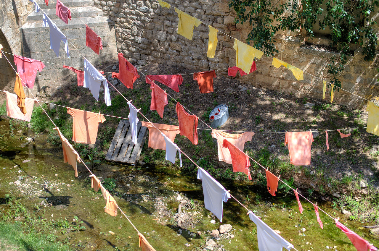 Clothes hung to dry in Costa Brava, Girona, Spain