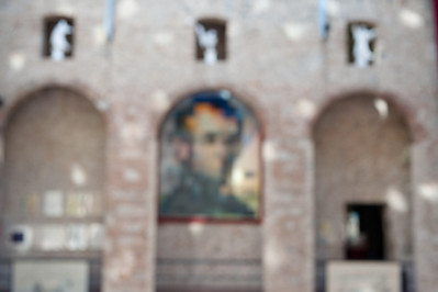 The pixelated photo of Lincoln at Dali Museum in Girona, Spain