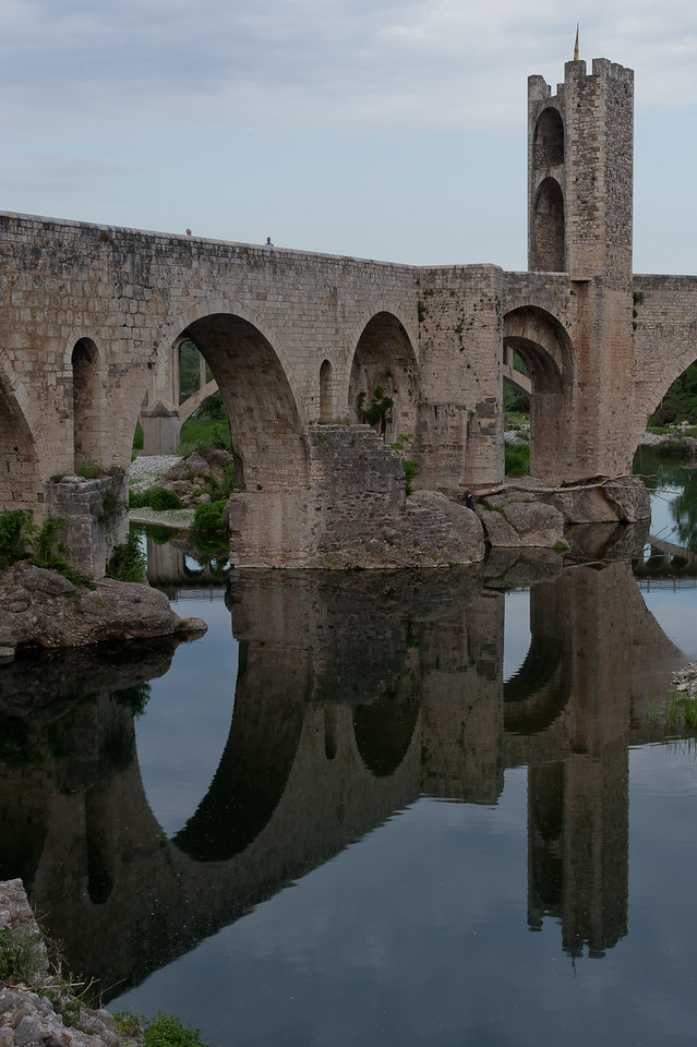 Romanesque Besalu bridge over Fluvia River in Costa Brava, Girona, Spain