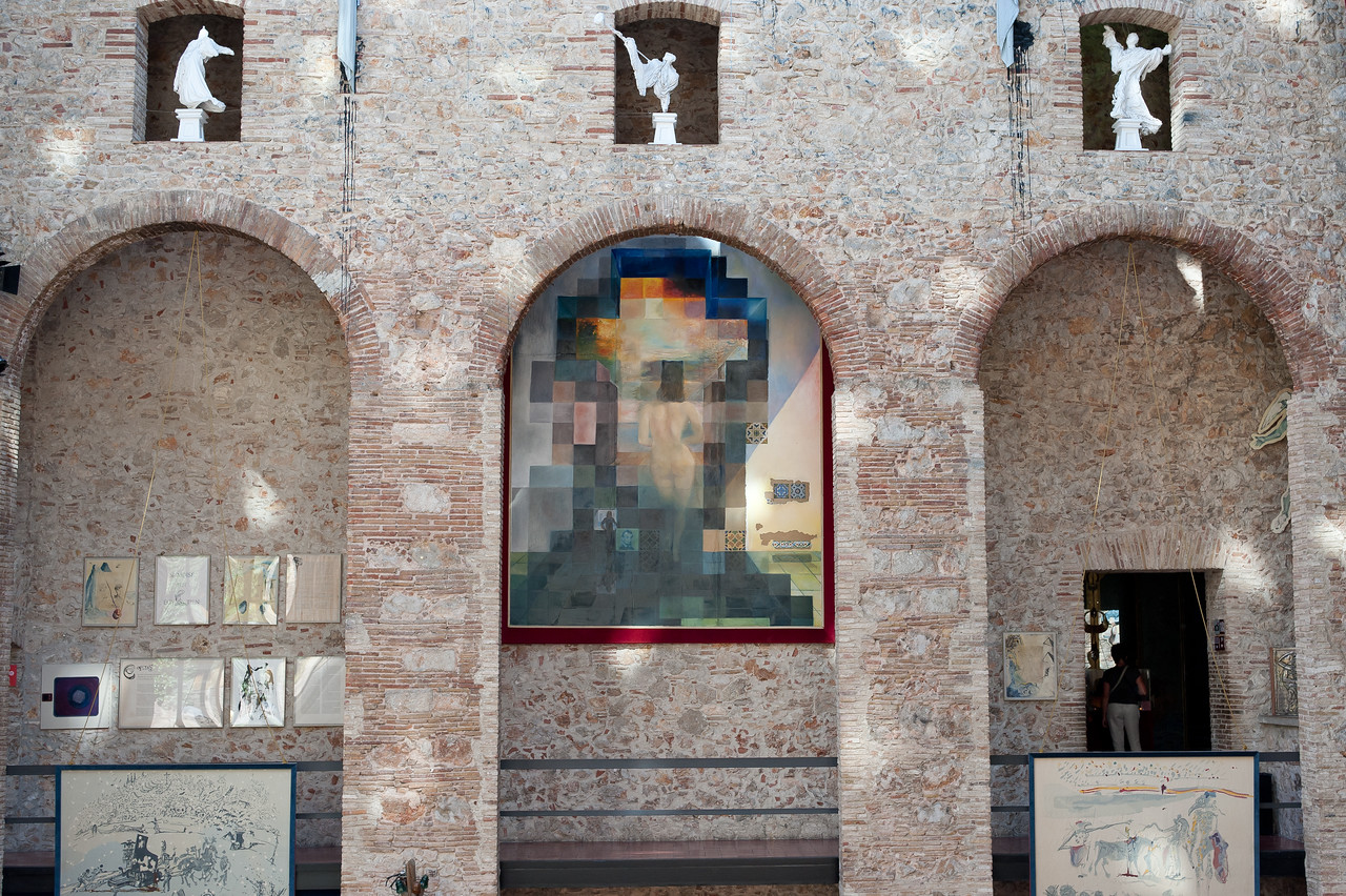 Pixelated photo of Lincoln at Dali Museum in Girona, Spain