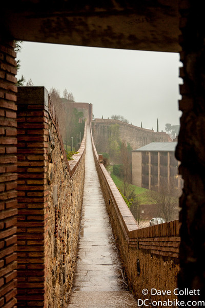 Looking along the wall