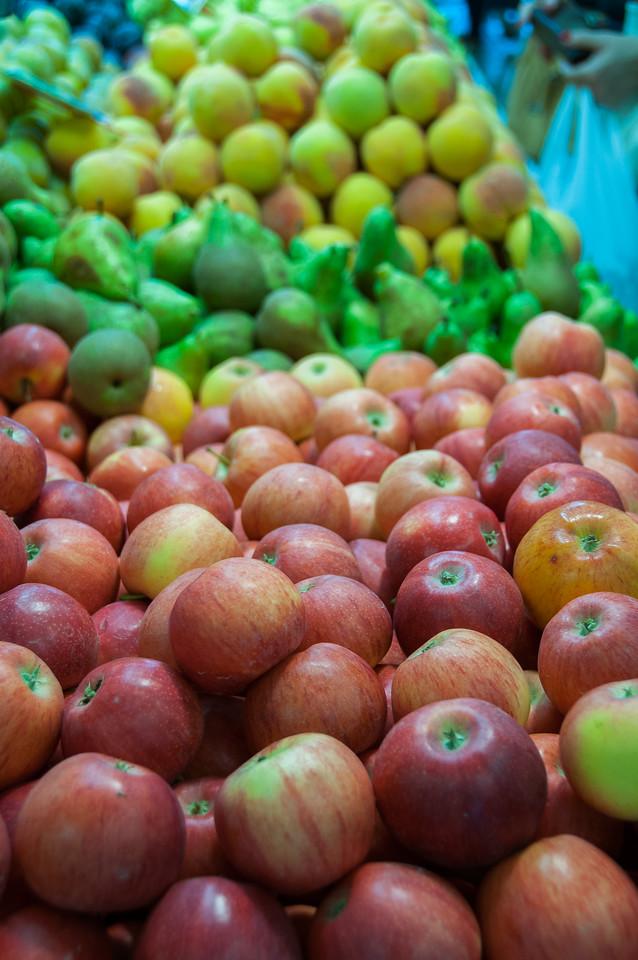 Baskets of fruits in a market in Elche, Spain