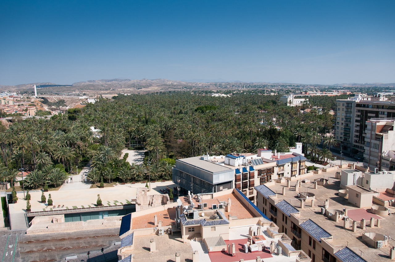 Aerial view of the city skyline in Elche, Alicante, Spain