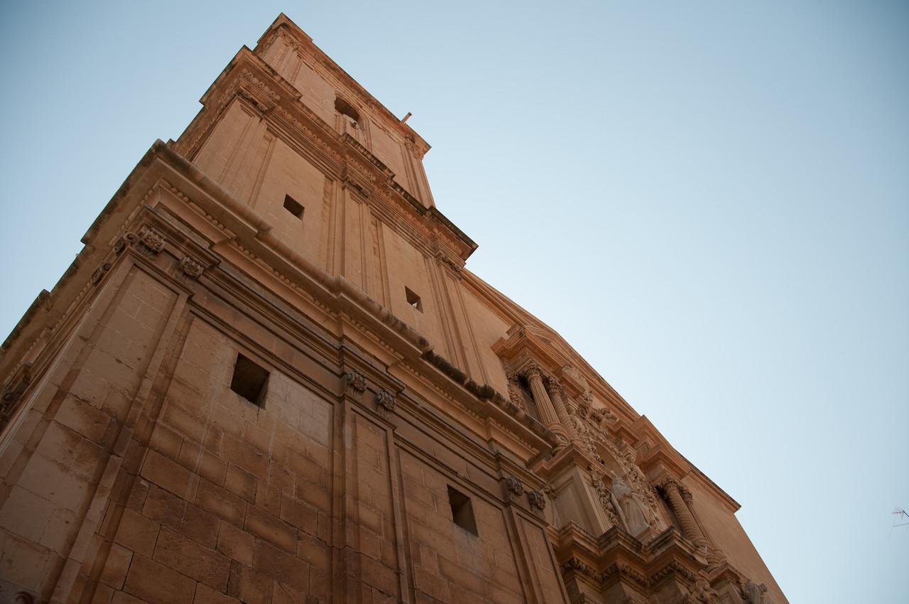Looking up the facade of Basilica de Santa Maria in Elche, Alicante, Spain