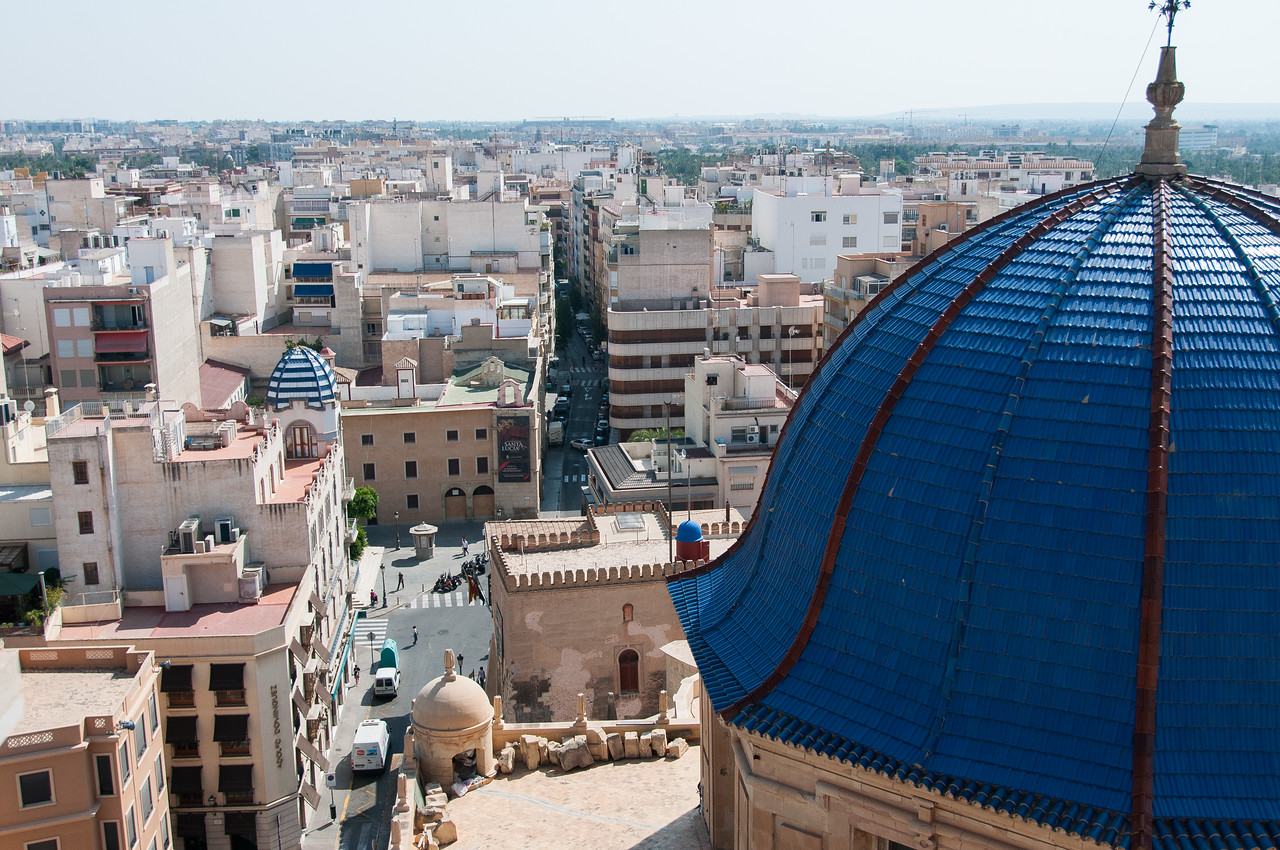 View of the Basilica de Santa Maria dome and city skyline - Elche, Spain