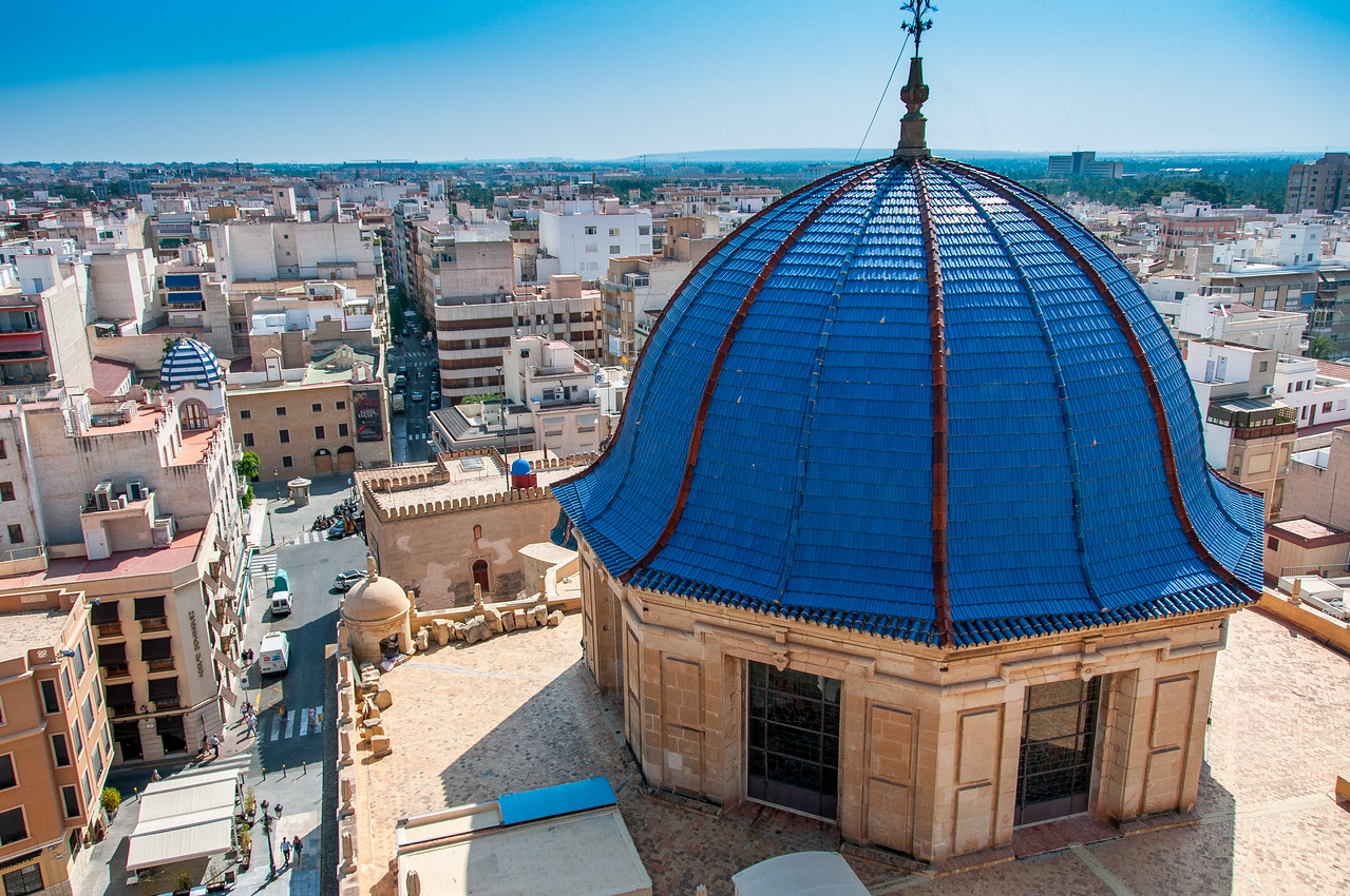 Looking down the dome of Basilica of Santa Maria in Elche, Alicante, Spain