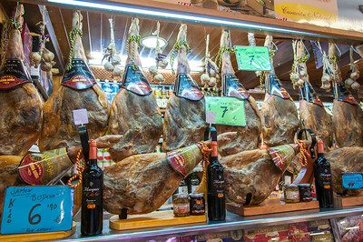 Meat stall in the market of Elche, Spain
