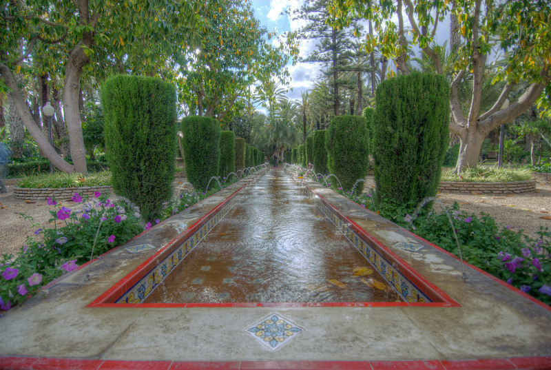 Fountain at the Palmeral of Elche (Palm Grove of Elche) in Spain