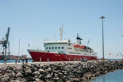 Ferry ship in port of Morro Jable, Canary Island Fuerteventura, Spain