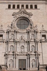 Girona Cathedral facade in Girona, Spain