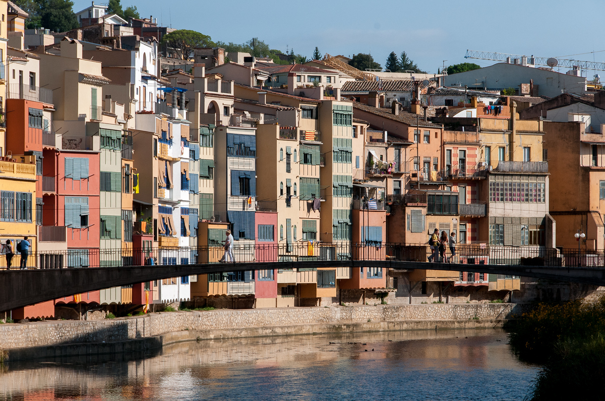 Houses Along the Onyar River in Girona, Spain
