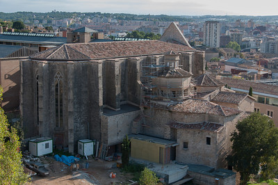 Aerial view of Girona Cathedral in Girona, Spain