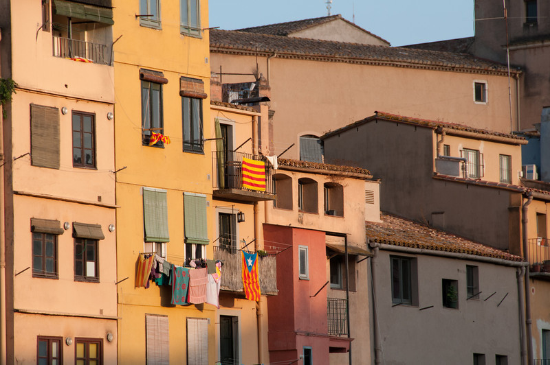 Buildings and facades in Girona, Spain