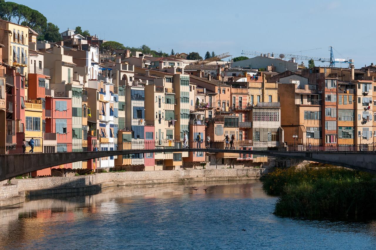Closer shot of Girona Bridge over Onyar River in Girona, Spain