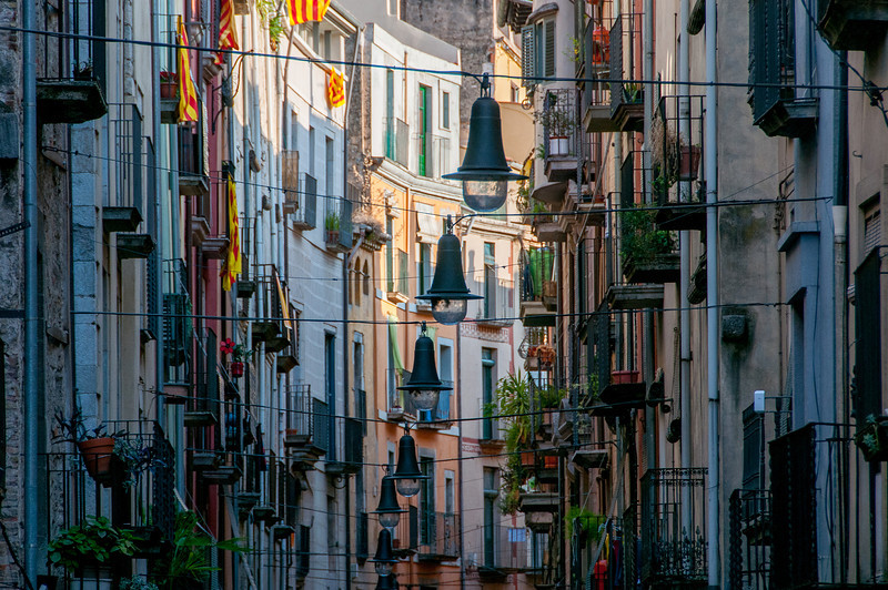 Lights and building facades in Girona, Spain