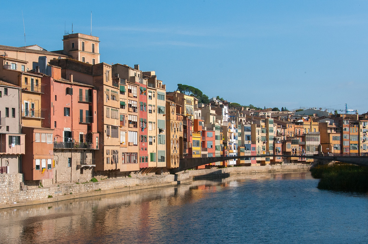 Girona Bridge over Onyar River in Girona, Spain