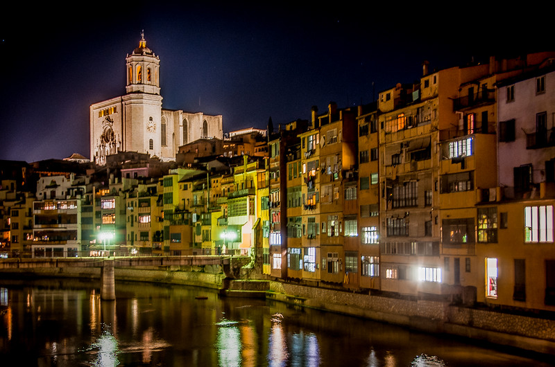 Night time view of the City of Girona