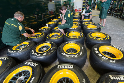 Tires were checked before start of the race - Valencia, Spain