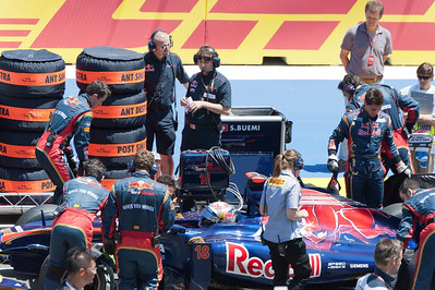 At the pit stop in the 2011 European Grand Prix - Valencia, Spain