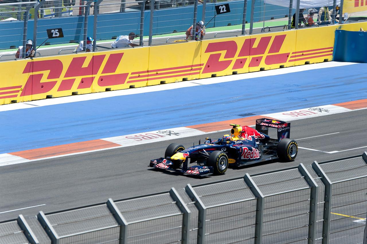 Formula One racecar speeding on the circuit - Valencia, Spain