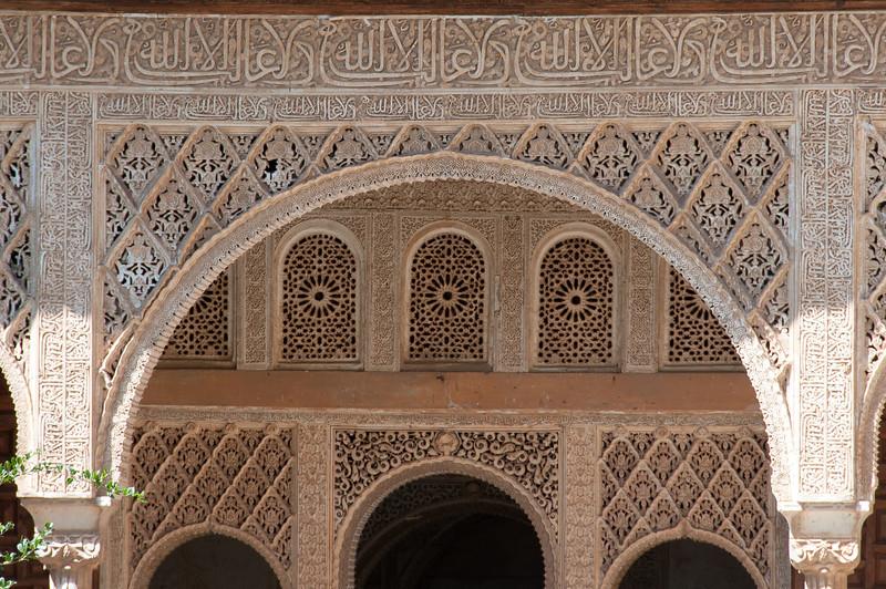 Architectural details in Alhambra, Granada, Spain
