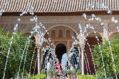 Fountain at the garden of Alhambra Palace in Granada, Spain